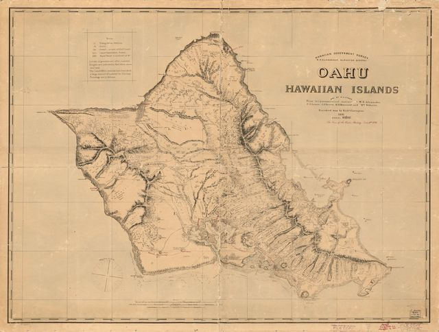 Hawaiian Government Survey; W. D. Alexander, Surveyor General, Oahu, Hawaiian Islands; map by C. J. Lyons, from trigonometic surveys by W. D. Alexander, C. J. Lyons, J. F. Brown, M. D. Monsarrat and Wm. Webster, finished map by Richd. Covington.