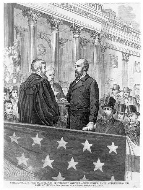 Inauguration of Pres. Garfield - Chief Justice Waite administering the oath of office