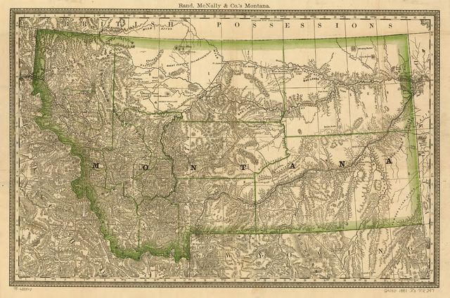 Indexed county map of Montana with a new and original compilation and index, designating all post office towns and railroad stations.