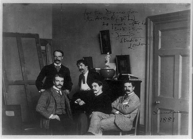 [Julian and Waldo Story, James McNeill Whistler, Frank Miles, and Honorable F. Lawless in Whistler's London studio]
