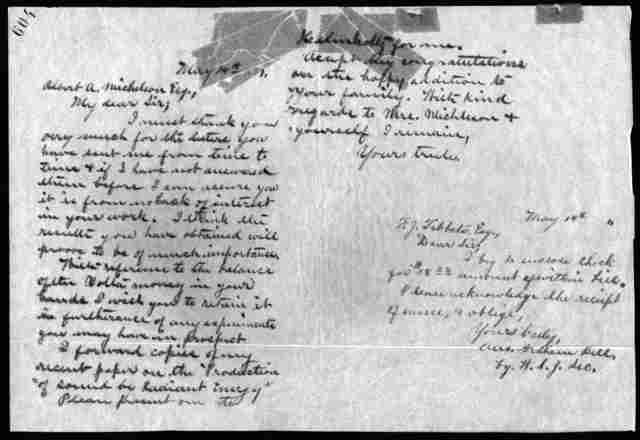 Letter from Alexander Graham Bell to Albert A. Michelson, May 14, 1881