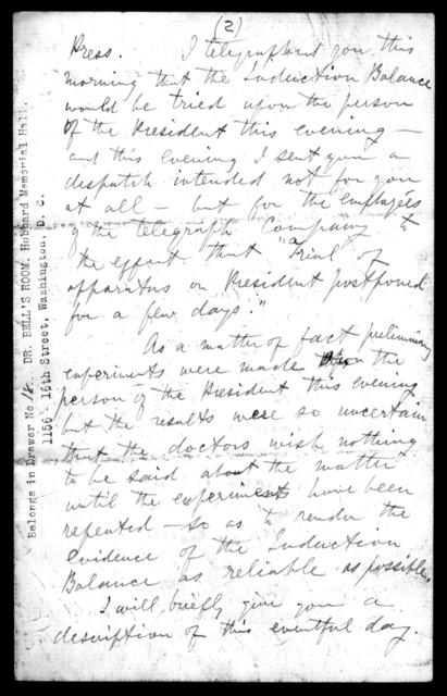 Letter from Alexander Graham Bell to Mabel Hubbard Bell, July 26, 1881