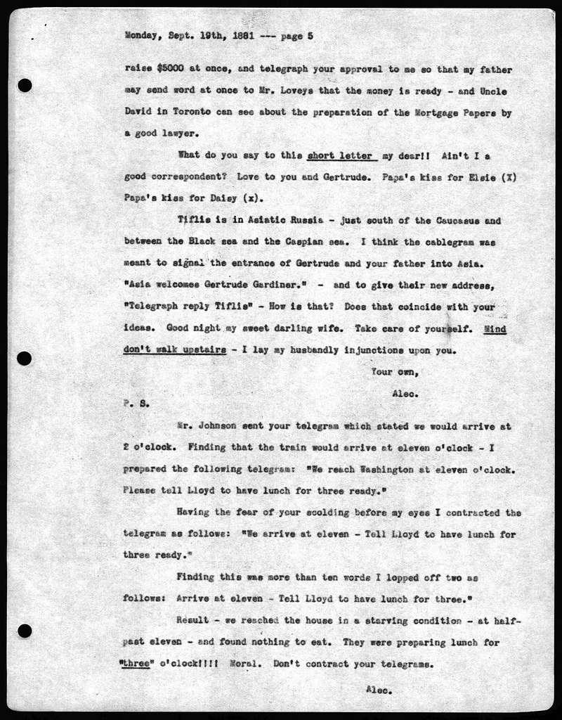Letter from Alexander Graham Bell to Mabel Hubbard Bell, September 19, 1881