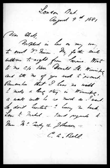 Letter from Chichester Bell to Alexander Graham Bell, August 9, 1881