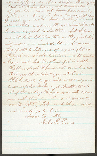 Letter from Giles S. Thomas to Thomas Family, July 31, 1881