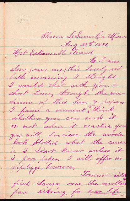 Letter from Laura Iona Bacon to Uriah W. Oblinger, August 28, 1881