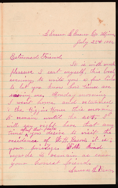 Letter from Laura Iona Bacon to Uriah W. Oblinger, July 22, 1881