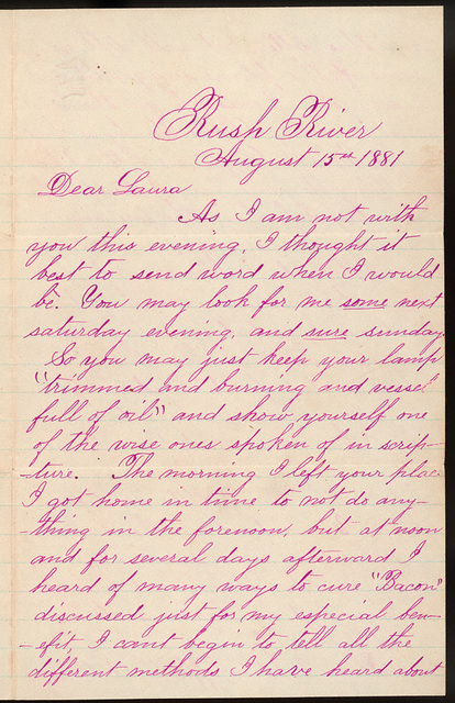 Letter from Uriah W. Oblinger to Laura Iona Bacon, August 15, 1881