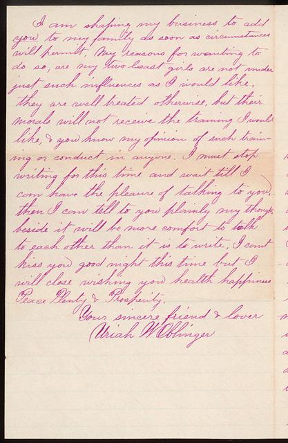 Letter from Uriah W. Oblinger to Laura Iona Bacon, September 4, 1881