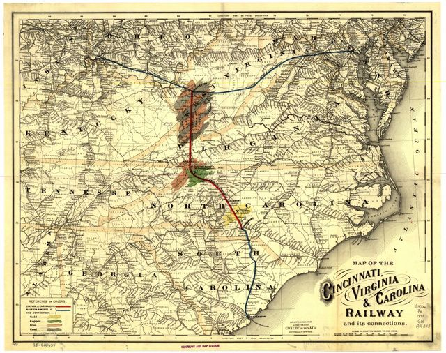 Map of the Cincinnati, Virginia, & Carolina Railway and its connection.