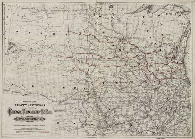 Map of the railroads and extensions of the Chicago, Milwaukee, and St. Paul Railway Company.