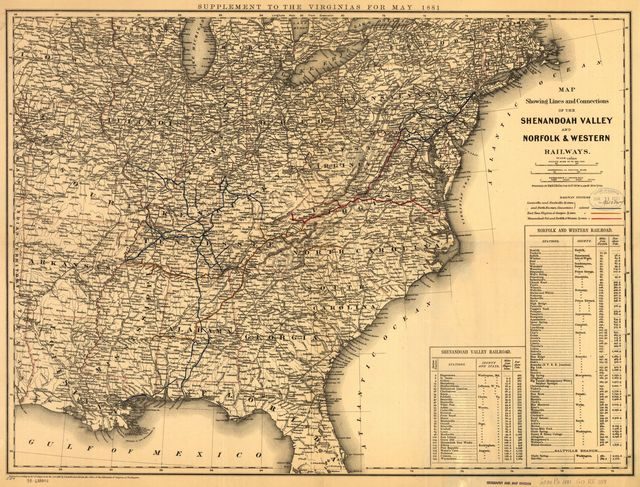 Map showing lines and connections of the Shenandoah Valley and Norfolk & Western Railways.