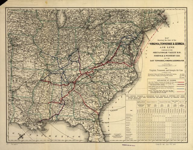 Map showing the line of the Virginia, Tennessee, & Georgia Air Line composed of the Shenandoah Valley R.R., Norfolk & Western R.R. and the East Tennessee, Virginia, & Georgia R.R.