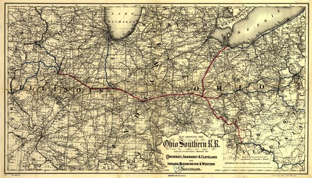 Map showing the Ohio Southern R.R. and its connections through the Cincinnati, Sandusky & Cleveland and Indiana, Bloomington & Western Railroads.