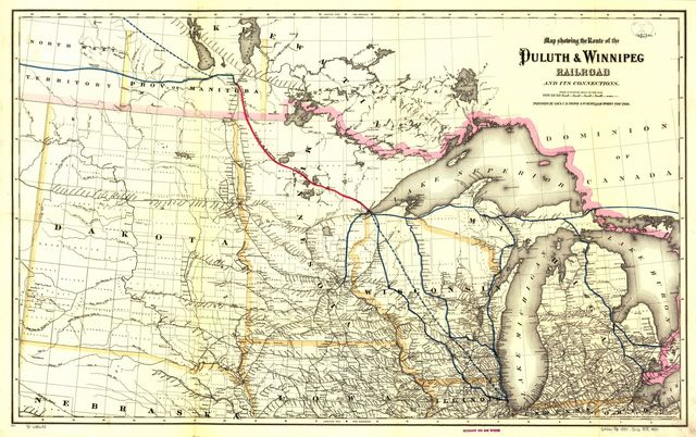 Map showing the route of the Duluth & Winnipeg Railroad and its connections.
