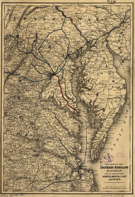 Map showing the Southern Maryland Railroad and its connections north, south, east, and west.