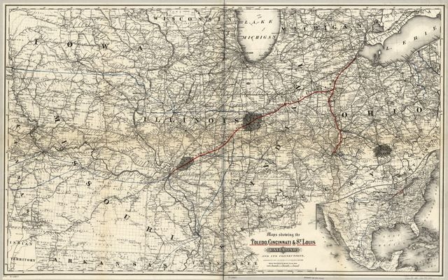 Maps showing the Toledo, Cincinnati, & St. Louis Railroad and its connections, 1881.