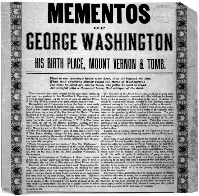 Mementos of George Washington his birth place, Mount Vernon & tomb. [n. p. 18--].