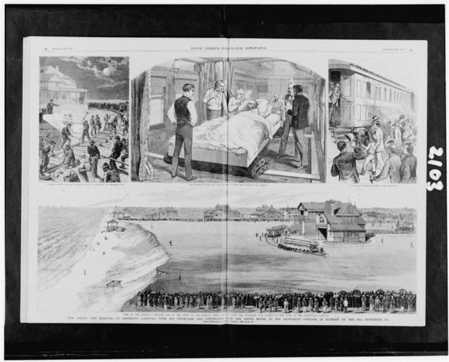 New Jersey--The removal of President Garfield, with his physicians and attendants, from the White House to the Francklyn cottage, at Elberon by the sea, September 6th / from sketches by a staff artist.