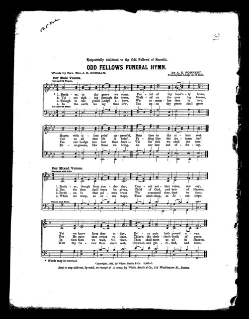 Odd fellows funeral hymn