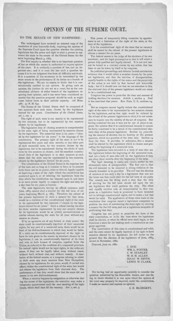 Opinion of the Supreme court. To the Senate of New Hampshire ... Concord. June 10, 1881.