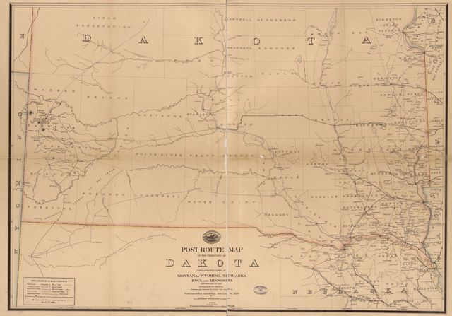 Post route map of the territory of Dakota with adjacent parts of Montana, Wyoming, Nebraska, Iowa and Minnesota, and portions of the Dominion of Canada /