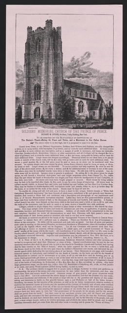 Soldier's Memorial Church of the Prince of Peace. To be erected on the battlefield of Gettysburg as the nation's thanks-offering for peace and union, and a monument to our fallen heroes.