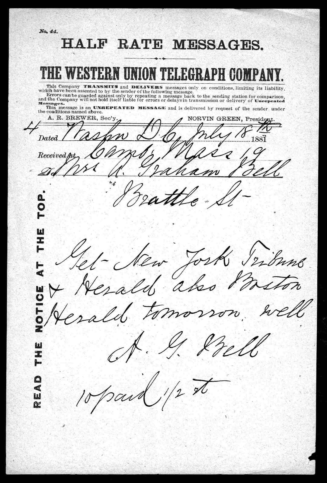 Telegram from Alexander Graham Bell to Mabel Hubbard Bell, July 18, 1881