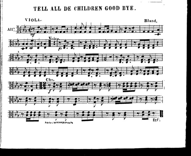Tell all de children good bye [orch parts]