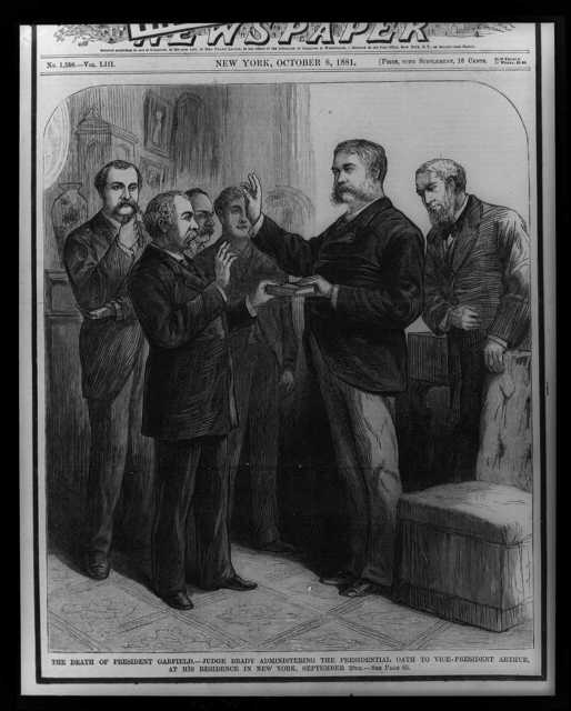 The death of President Garfield--Judge Brady administering the Presidential oath to Vice-President Arthur, at his residence in New York, September 20th