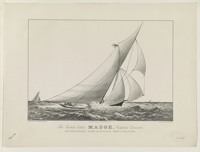 The Scotch Cutter Madge, Captain Duncan: length over all, 45 ft. 8 1/2 ins. on water line, 38 ft. 9 1/2 ins. breadth of beam, 7 ft. 9 ins.