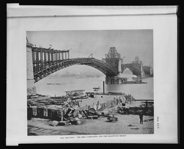 [The St. Louis bridge.] The erection -- the ribs completed and the roadways begun