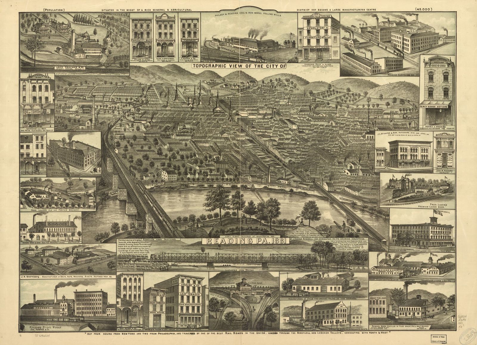Topographic view of the city of Reading, Pa  1881  | PICRYL