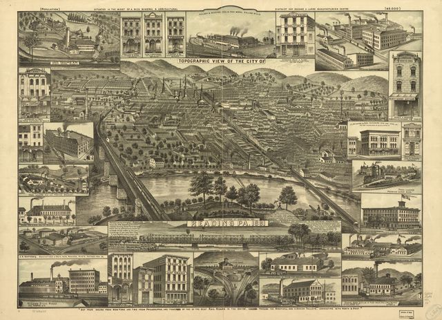 Topographic view of the city of Reading, Pa. 1881.