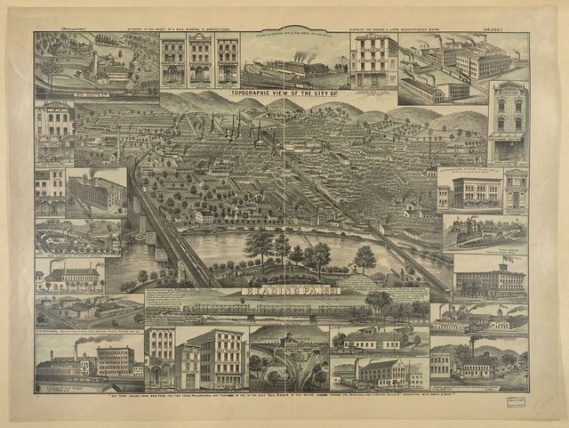 Topographic view of the city of Reading Pa. 1881 / compiled from sketches by J. Hanold Kendall, and dedicated to its growing industries.