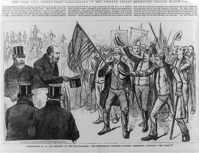 Washington, D.C. - an incident of the inauguration - ex-confederate soldiers saluting President Garfield