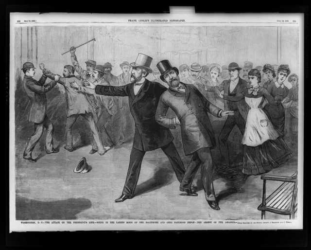 Washington, D.C.--The attack on the President's life--Scene in the ladies' room of the Baltimore and Ohio Railroad depot--The arrest of the assassin / from sketches by our special artist's [sic] A. Berghaus and C. Upham.