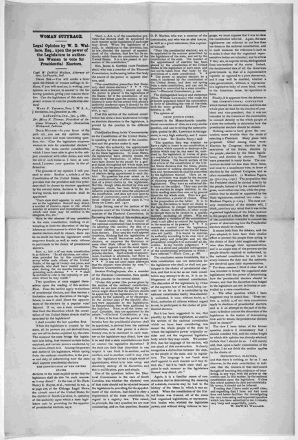 Woman suffrage. Legal opinion by W. D. Wallace, Esq., upon the power of the legislature to authorize women to vote for presidential electors ... Lafayette, Ind. 1881.
