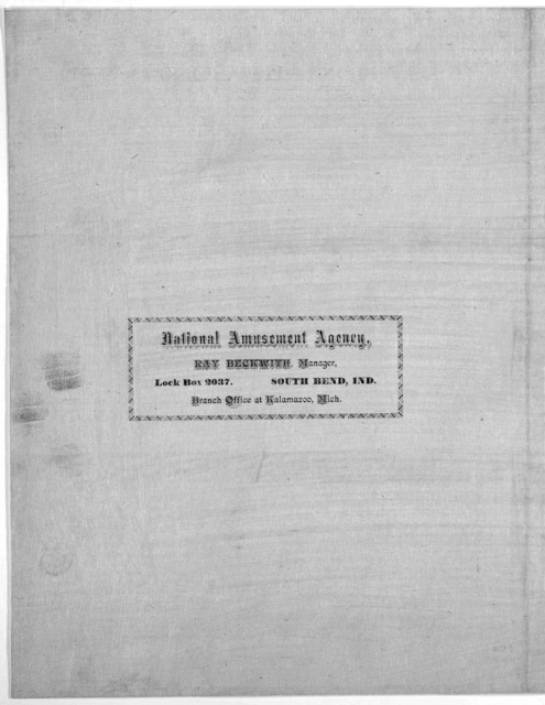 1882-1883 season comedy. Prof. J. S. Duer. elocutionist and humorous character delineator. classic renditions. For terms and dates in middle and western states, territories and Canada, address Ray Beckwith ... South Bend, Ind. [1882].
