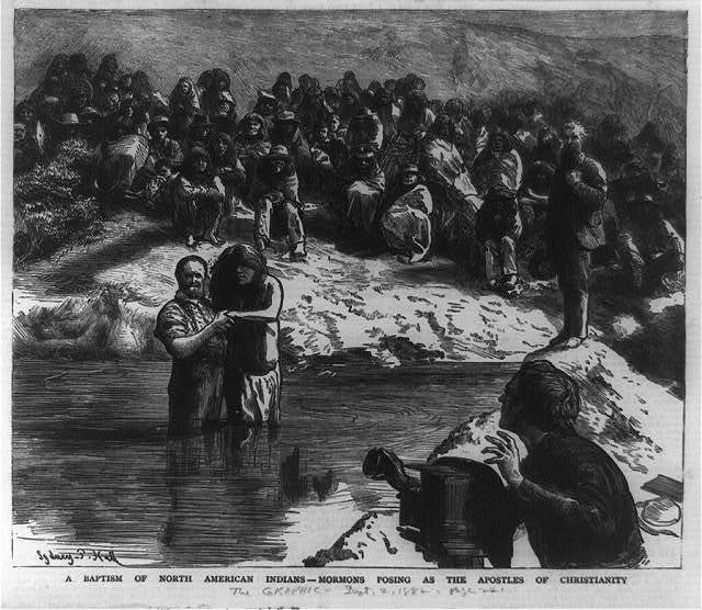 A baptism of North American Indians - Mormons posing as the apostles of Christianity