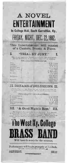 A novel entertainment in college hall .… [South Carrollton, Ky. 1882]