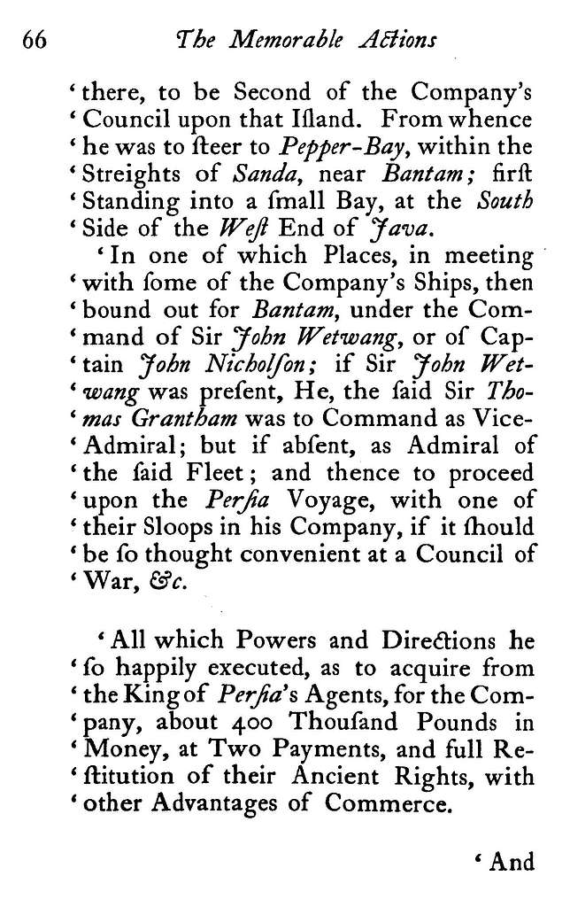 An historical account of some memorable actions, particularly in Virginia; also against the admiral of Algier, and in the East Indies: performed for the service of his prince and country,