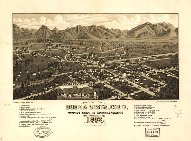 Bird's eye view of Buena Vista, Colo. county seat of Chaffee County. 1882.