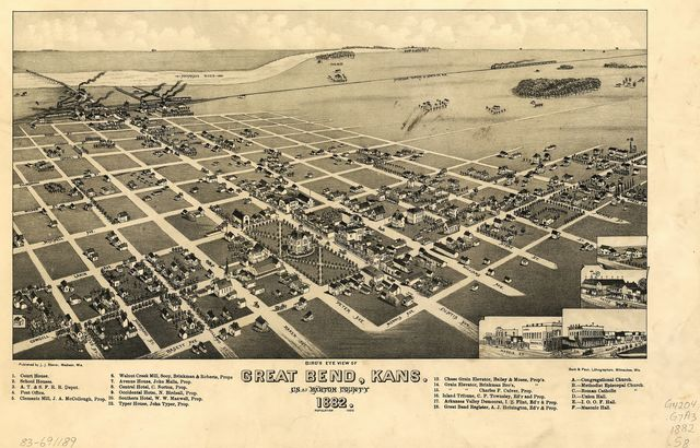 Bird's eye view of Great Bend, Kans. : c.s. of Barton County, 1882.