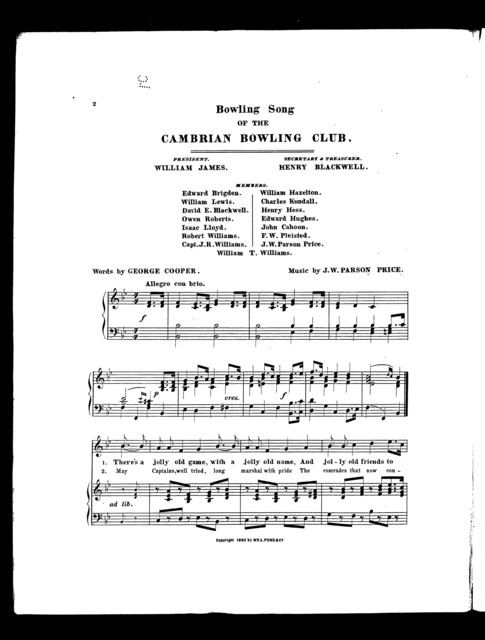 Bowling song of the Cambrian Bowling Club
