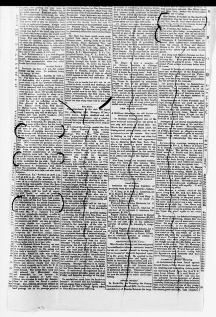 Clara Barton Papers: Red Cross File, 1863-1957; American National Red Cross, 1878-1957; Relief operations; Mississippi and Ohio river valleys; Newspaper clippings, 1882-1885