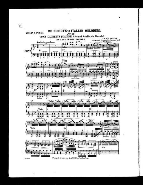 Come l'aurette placide [from] De Beriots 12 Italian melodies