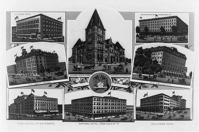 [Composite of eight buildings in Washington, D.C.--St. James Hotel, the Ebbitt House, Riggs House, Metropolitan Hotel, National Hotel, The Arlington, Willard's Hotel, and the Baltimore & Potomac R.R. Depot]