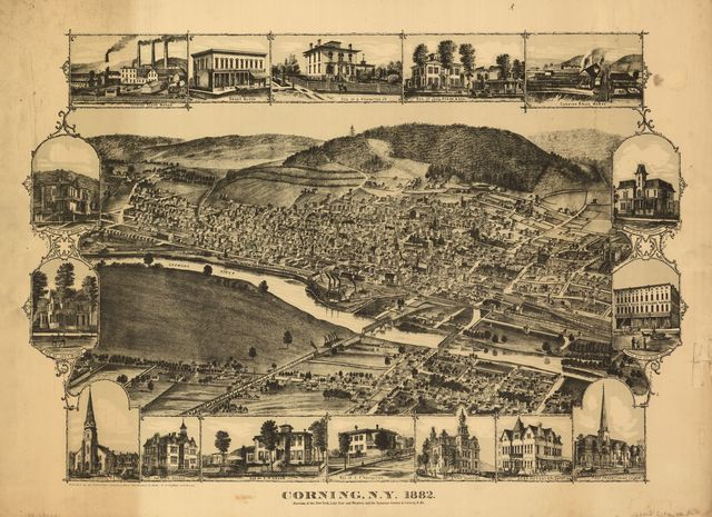 Corning, N.Y., 1882 : junction of the New York, Lake Erie, and Western and the Syracuse, Geneva & Corning R.R.'s /