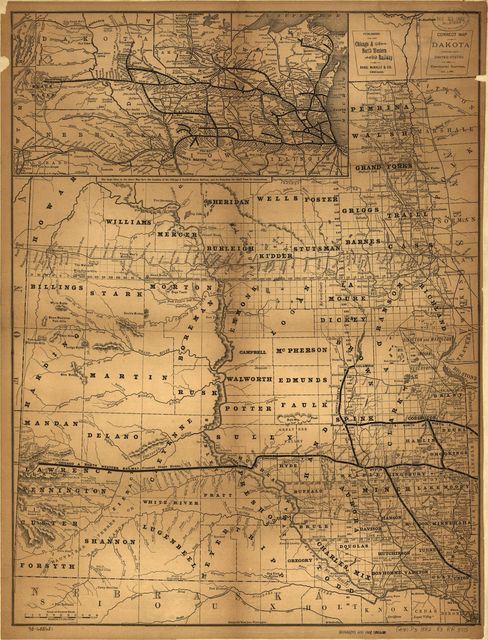 Correct map of Dakota compiled from United States and Territorial surveys Nov. 1, 1882.